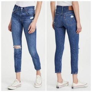 LEVI'S Premium 501 Skinny High Rise Distressed Jeans NWT